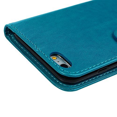 iPhone 6 Coque, iPhone 6S Coque, Bookstyle Étui Licorne Housse Imprimé en PU Cuir Case à rabat Coque de Protection Portefeuille TPU Silicone Case pour iPhone 6/ iPhone 6S - Rose Gold Blue