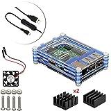 4 en 1 Kit Professionnel Pour Raspberry Pi 3 & 2 B B+, Tranchés 9 Couches Cas Box + Ventilateur + Micro Câble usb à tour / l'interrupteur, ailette de refroidissement [Raspberry Pi est pas inclus] (Bleu)...