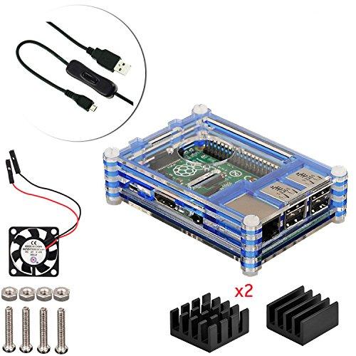 4 en 1 kit profesional para Raspberry Pi 3 & Raspberry Pi Modelo B 2, negras en rodajas 9 Capas caja de la caja de refrigeración + cable USB Mini Fan + Micro con giro / encendido, fresco (azul)
