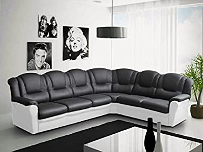 Texas Big Corner Sofa Suite - Black and White Faux Leather by Meble Roberto