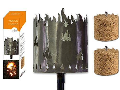 Fackel Gartenfackel Flammen 140 Cm Feuerschale Metall Stiel 2 X Brennmittel 64090 F77