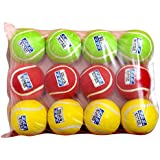 SBS Super Cricket Tennis Ball Green,Yellow,Maroon, 12Pc