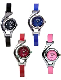 Freny Exim New Fashion Adda Sober Combo Set Of 4 Black Blue Red And Pink Dial Analog Women Wrist Watches For Girls