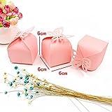 JZK® 50 x Gastgeschenk Box Süßigkeiten Geschenkbox Schmuck Schachtel für Hochzeit Geburtstag Party Gartenparty Taufe Babyparty Baby Shower Festival Weihnachten(rosa Schmetterling, quadratisch) - 2