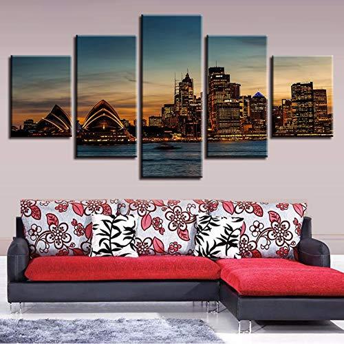 (xzfddn Leinwand HD Drucke Poster Bild Wandkunst 5 Stücke Sydney Opera House Nacht Stadtbild Malerei Wohnkultur Bilder Modular)