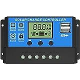 30A Controlador de Carga Solar, 12V/24V Identificación Automática/Carga de Regulación PWM de 3 Niveles/Puerto 2USB / Circuito