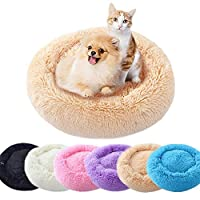 UBRAVOO Dog Beds Extra Soft Washable Comfortable Pet Bed Sofa,Waterproof Round Plush Donut Cats Nest Bed Cushions or Oval Donut Nesting Cave Bed (Multiple Sizes) (L, Dark Gray)