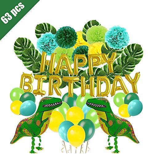 Lehoo Castle Dinosaurier Party Dekoration, 63 Stück Dinosaurier Geburtstag Set für Kinder, Geburtstag Dekorationen für Jungen, alles Gute zum Geburtstag Ballons, Pom Poms Blumen, Dinosaurier Ballons