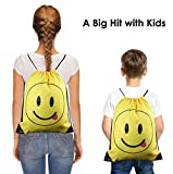 Party Bags Cute Emoji Cartoon Drawstring Backpack Bags for Kids Girls and Boys 10 Pack, Gift Treat Goody Birthday Party Favor Bags