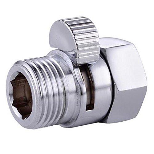 Durchflussregelungsventil Badewanne & Dusche Ventile, Stop Switch Valve, Duschkopf Shut-Off Ventile, Brass Shower Head Flow Contol, Massiv Messing, Verchromt Silber -