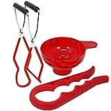 COM-FOUR® 3-teiliges Einkoch-Set, Glasheber für heiße Einkochgläser, Trichter zum Abfüllen und einen Glasöffner zum einfachen Öffnen von festsitzenden Deckeln (03-teilig - Starterset)