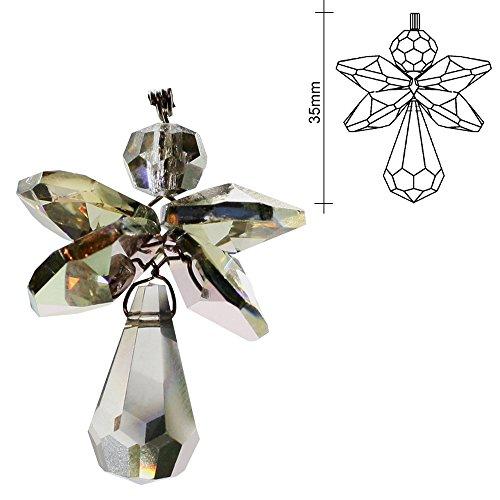 Schutzengel aus Kristallglas 35mm zum aufhängen Kristall Engel Charmes Schmuck-Anhänger, Glücksbringer als Geschenk, Giveaway oder als Dekoration für Weihnachten...