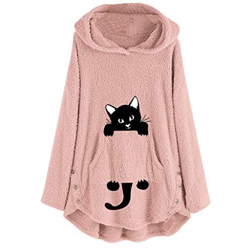 Lazzboy Katze Stickerei Plus Size Hoodie Top Pullover Sweatshirt Bluse Kapuzenpullover Damen Mäntel Knopf Mantel Flauschigen Schwanz Outwear(Rosa,5XL)