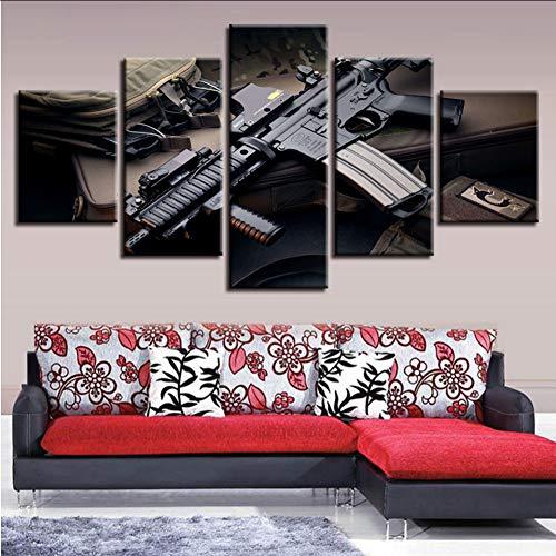 myvovo (Kein Rahmen) LeinwandWandkunst Bilder 5 Stücke Machine Gun Gemälde Home Poster Bild Dekor Druckt HD Submachinegun Poster Moduler -