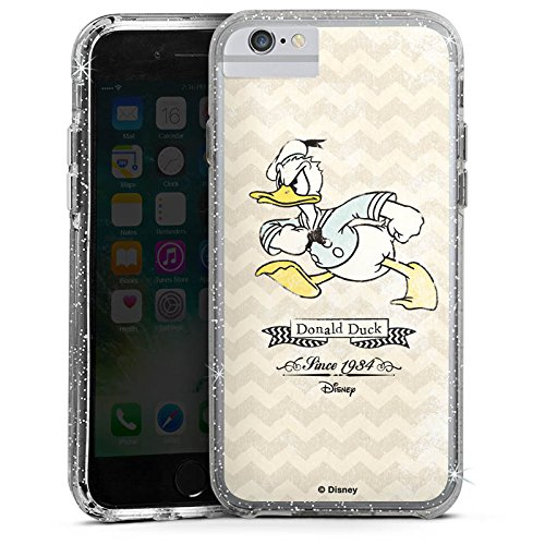 Apple iPhone 8 Bumper Hülle Bumper Case Glitzer Hülle Disney Donald Duck Vintage Fanartikel Geschenke Bumper Case Glitzer silber