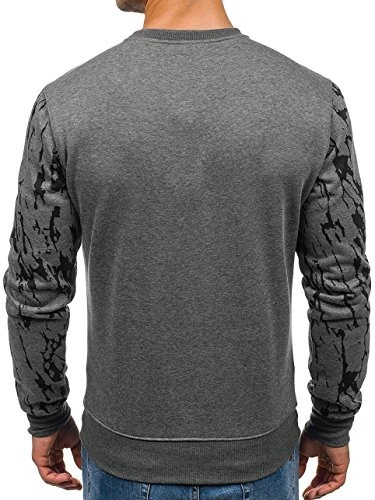 BOLF Herren Pullover Sweatshirt Langarmshirt Sport MIX Dunkelgrau_DD15