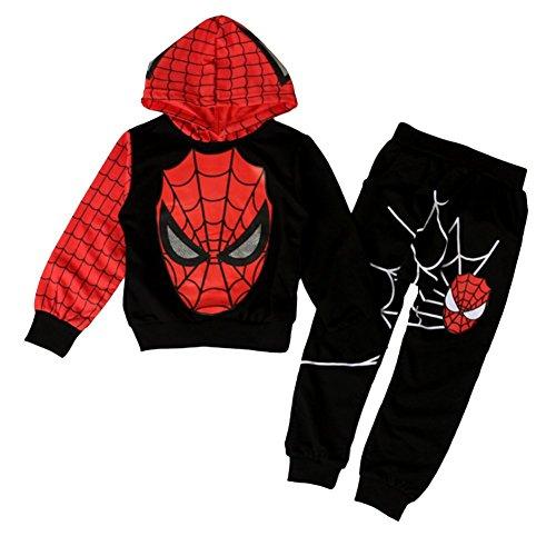 iikids Bekleidungsset 2 pcs Sweatshirt + Hose Spiderman Kostüm Kinder Kapuzenpullover Kinderanzug Jungen Babyanzug Junge Anzug Kinder Kleikind, Schwarz,110/116(Etikette 120)
