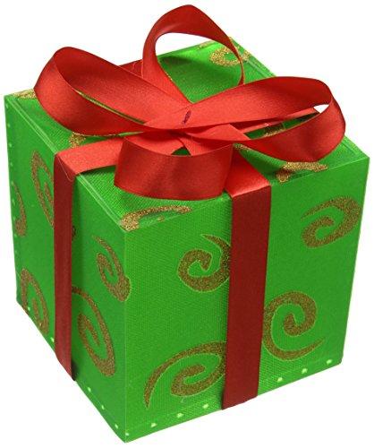 Pre-Lit Natale wer 12 centimetri scatola con disegno a spirale e LED rosso che cambia nastro di colore dell'albero di Natale decorativo 1 unità,