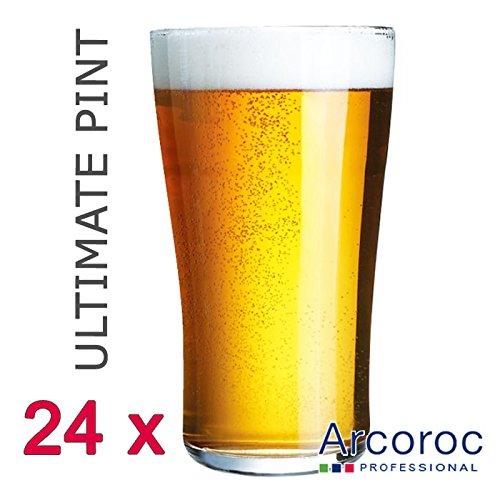 Arcoroc Ultimate Nucleated À Bière Britania 57 Cl 20 oz/570 ml/1 Pint. Quantité: Lot de 24