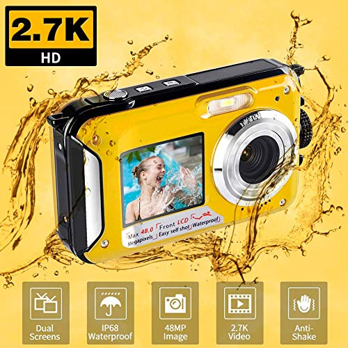 Appareil Photo Etanche Numérique 2.7K Full HD 48.0 MP Camera sous Marine Selfie Dual Screen Flash Light Camera Etanche e pour La Plongée en Apnée, Jaune/806DYA