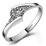 Meyiert 925 Sterling Silver Brilliant Round Cut Zirconia Eternity Promise Engagement Wedding Rings