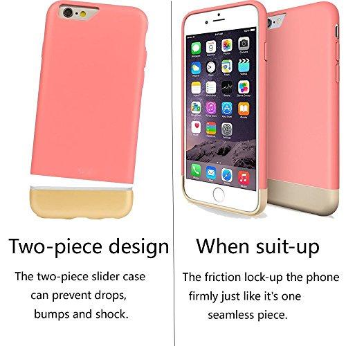 fonrest Abnehmbare Slide Dock Freundlicher Ultra Slim Fit PC Hartschalen-Schutzhülle für iPhone 6Plus/6S Plus Pink/Gold