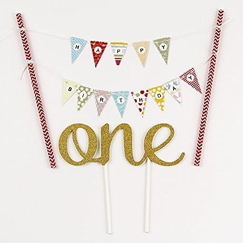 """KUNGYO Ein Geburtstagstorte Topper Set Kleine Buntings Banner (Rosa) Cake Topper Kuchenwimpel Girlande Und Golden""""One"""""""
