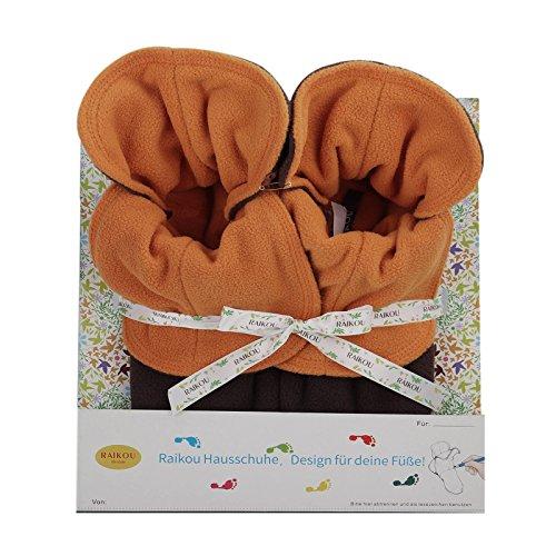 RAIKOU Hausschuhe aus Micro Fleece mit ABS & rutschfester Sohle, ZWEIFARBIG in besonders schöner, festlicher GESCHENKPACKUNG, super flauschige Hausschuhe für Damen und Herren Coffee/Orange