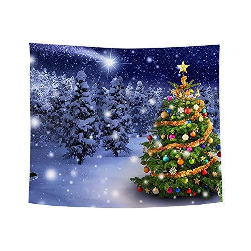 ODJOY-FAN Weihnachten Kunst Zuhause Wand Hängend Tapisserie Weihnachtsbaum Pfirsich Leder Stoff Tapisserie Wand Dekor Wandbilder Ornamentik (150x130 cm)(A,1 PC)