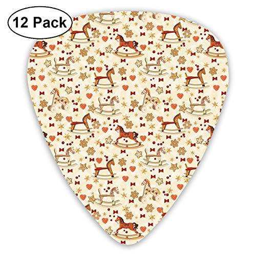 Guitar Picks12pcs Plectrum (0.46mm-0.96mm), Vintage Rocking Horse Toy With Star And Bow Tie Grunge Elements Christmas Theme,For Your Guitar or Ukulele (Ties Bulk Bow)