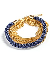Young & Forever Paradiso Multilayer Golden Braided Trendy Bracelets For Women / Girls (B55086)