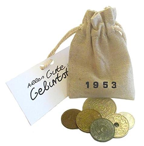 Originelles symbolisches Geschenk zum 64. Geburtstag mit 5 Münzen von 1953