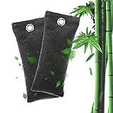 lesgos Ambientador De Carbón Activado de Bambú, Zapatillas Naturales Bolsas de carbón de carbón Eliminador de olores, Desodorante de Deporte, Bolsa de desodorizante para ambientador de carbón
