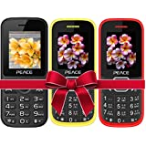 Combo Of 3 Mobiles(P4 Black+FM1 Red Black+Yellow Black) With 1 Year Warranty