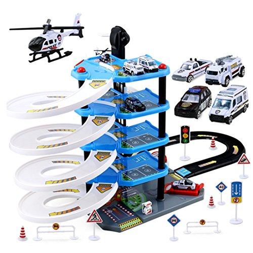 Matuke Spiel Parkhaus, Autogarage mit 5 Ebenen und 4 Fahrzeugen Parkgarage Kinder Parkhaus Spielzeug für ab 3 Jahren, Blau