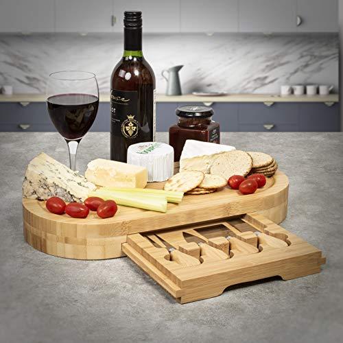 Woodluv vassoio ovale in legno di bambù, set regalo con cassetto integrato con 4 coltelli da formaggio, set per ogni occasione, 41 x 21 x 5 cm