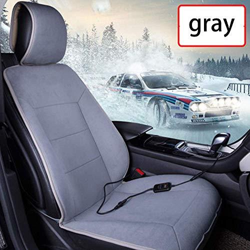 FKYUYU Sitzauflagen Auto Beheizbar 12 V Einzeltreiber Intelligent Thermostat Multifunktionale Sitzkissen Auto Heizung Massagekissen Vordere Reihe Universal Plüsch,Gray -