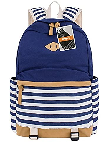 Leaper Cute Navy Style School Backpack Striped Canvas Bookbag Casual Travel Rucksack Blue