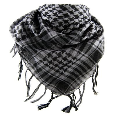 Planete Supporter-pañuelo palestino con diseño de-Chèche-Pashmina, color Gris y negro