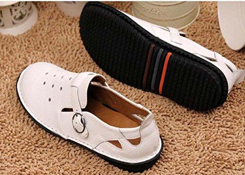Onfly Lässige Schuhe Loafer Mädchen Damen Atmungsaktiv Gemütlich Weiß Leder Hohl Gürtelschnalle Flache Schuhe Lazy Schuhe Pedal Schuhe Eu Größe 35-40 White