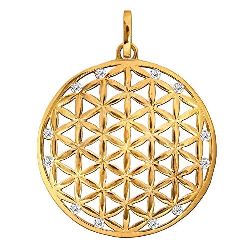Clever Schmuck Goldener großer Damen Anhänger Ø 30 mm Blume des Lebens mit viele Zirkoniassteine weiß glänzend 333 GOLD 8 KARAT