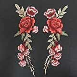 #10: Fancyku Embroidered Patches Flower Patches Iron on Patch Sew on Patch Sticker Applique Badge for Arts Crafts DIY Decor 2 Pcs