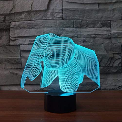 DFDLNL Loely Ephant 3D Visuelle Led Nachtlichter USB Gebühr 3D Nachtlampe Schlafzimmer Bücherregal...
