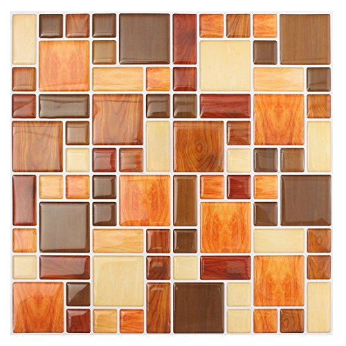 TOOGOO(R) 3D Tile Mosaic Pattern Wallpaper Modern Wall Background LivingRoom Kitchen DecorPattern:#2 260Mm X 260Mm X1mm