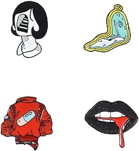 4 Pc/Insieme Punk Spille per Lip Clock Abbigliamento Badge Zaino Lega Spilla Creativo Donna Shirt Collare Accessori Spilla Regalo