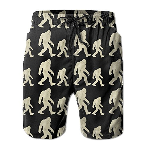 Jertfdger Bigfoot Hide and Seek Champion Funny Wood Men's Swim Trunks Printed Quick Dry Board Shorts
