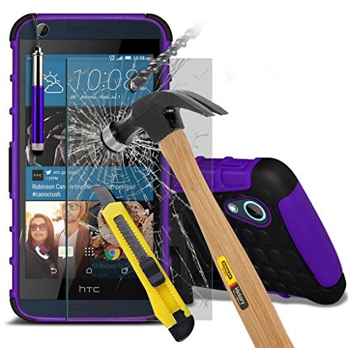 Étui pour HTC Desire 626 / HTC Desire 626 E5603, E5606, E5653 Titulaire de téléphone Case voiture universel Mont Cradle Tableau de bord et pare-brise pour iPhone yi -Tronixs Shock proof +Glass (Purple)