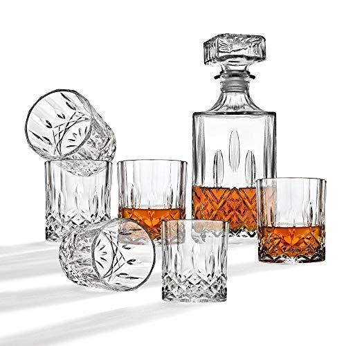 Whisky-Dekanter-Set, Weindekanter, Tequila, Dekanter, Bourbon Dekanter, Likör, Dekanter, Diamant, 7-teiliges Set (Dekanter-set Irish)