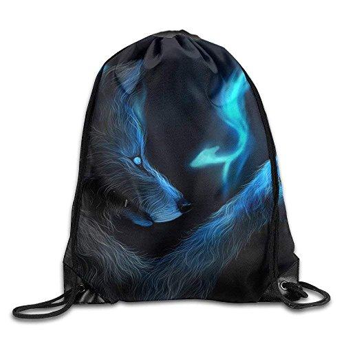 06f899f35a DHNKW Dark Werewolf Wolf Drawstring Backpack Bag Sports Sack