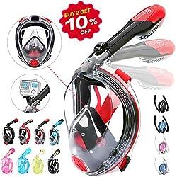 HENGBIRD Masque de Plongée Version 3.0 Masque Snorkeling Complet Une Pièce Anti-Fuite Support de Lunettes Antibuée 180° Visible avec Support Caméra Sport pour Adultes et Enfants